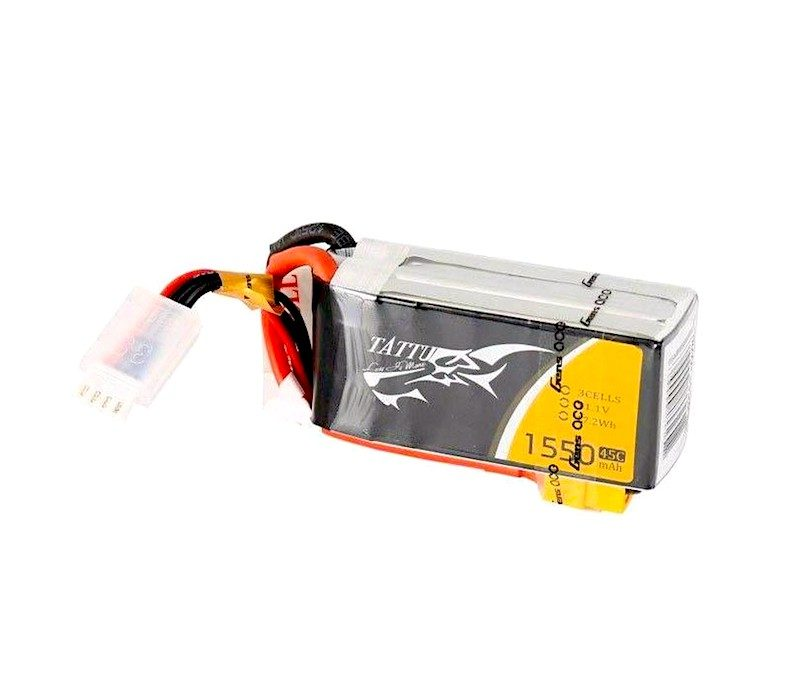 Batería Tattu 3S 1550mAh 45C lipo drone carreras fpv