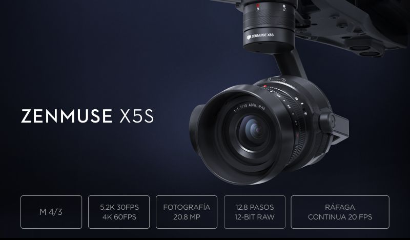 Cámara DJI Zenmuse X5S - Resumen caracteristicas