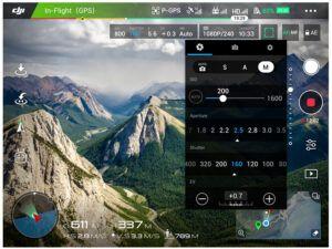 camara Zenmuse X5 en la aplicacion DJI Go