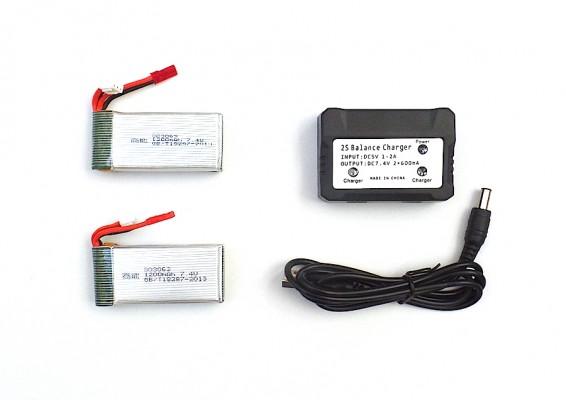 Pack 2 baterías MJX X101 X102 y cargadpr