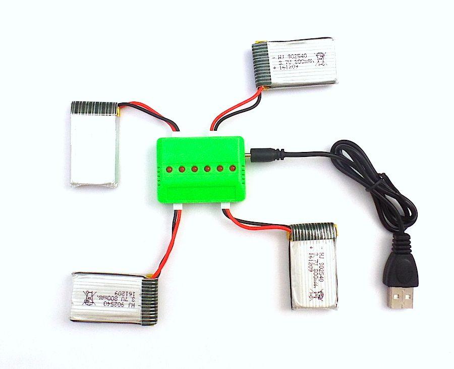 Pack 4 baterías Syma X5SC X5SW y cargador