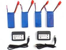 Pack 4 baterías Syma X8HC X8HW 2 cargadores.