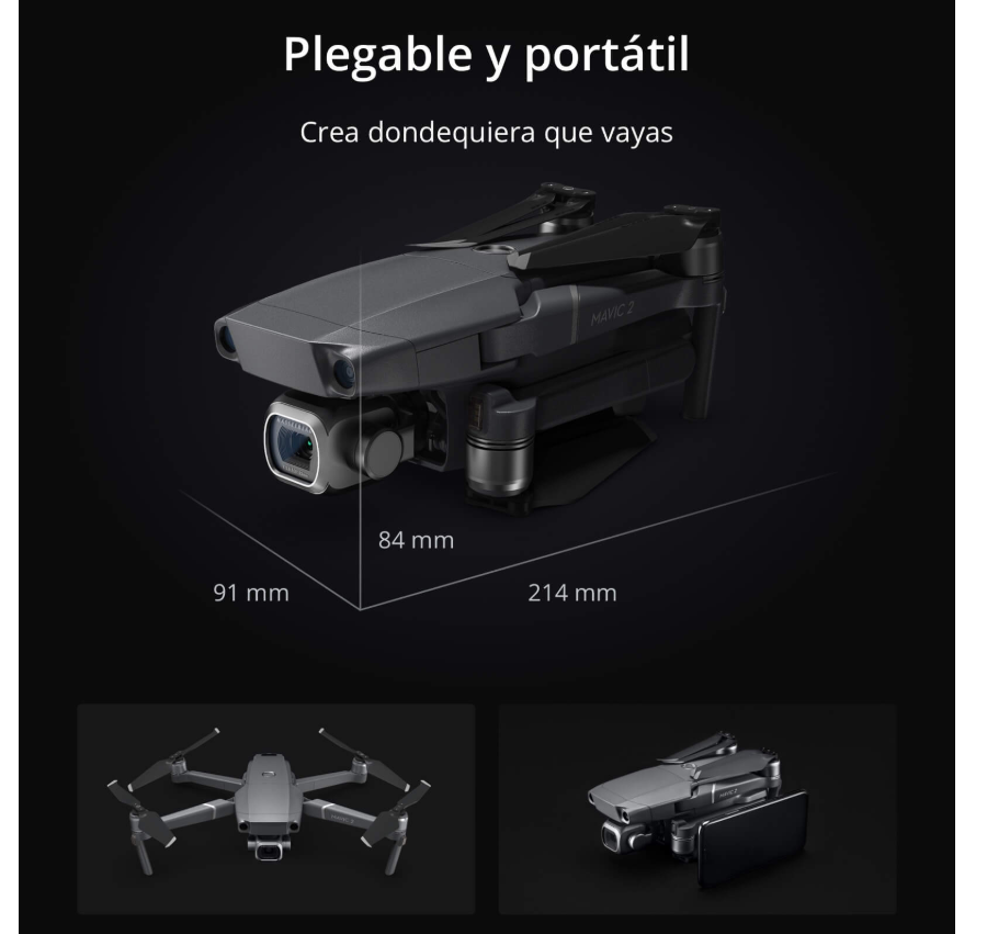 multicoptero FPV DJI Mavic 2 pleglable y portatil