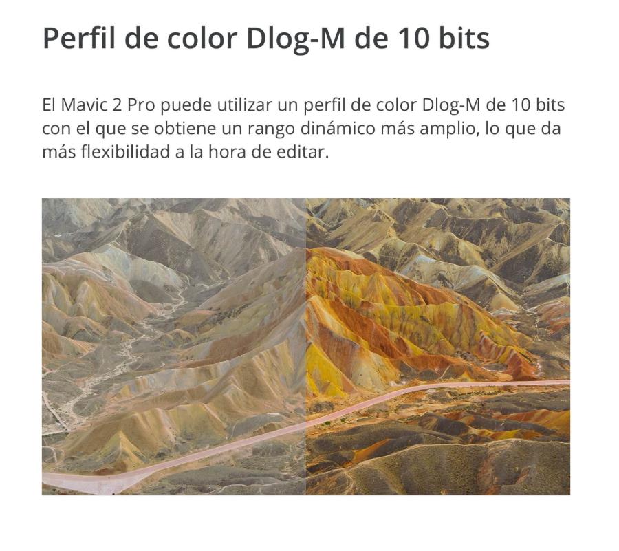 drone FPV DJI Mavic 2 Pro con color Dlog M 10 bits
