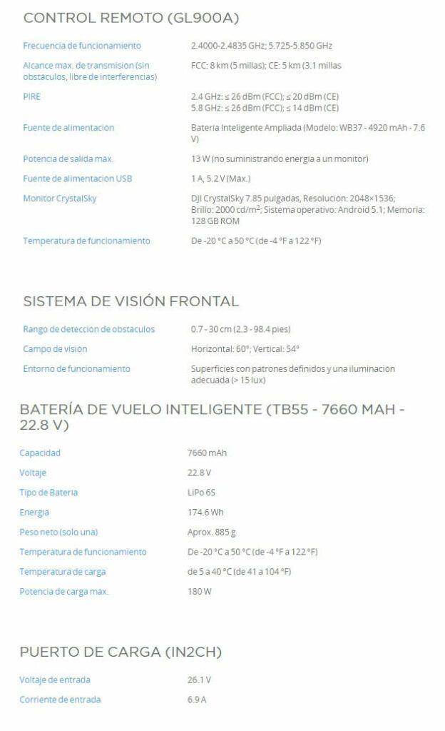 Caracteristicas DJI Matrice 210 V2 Control remoto