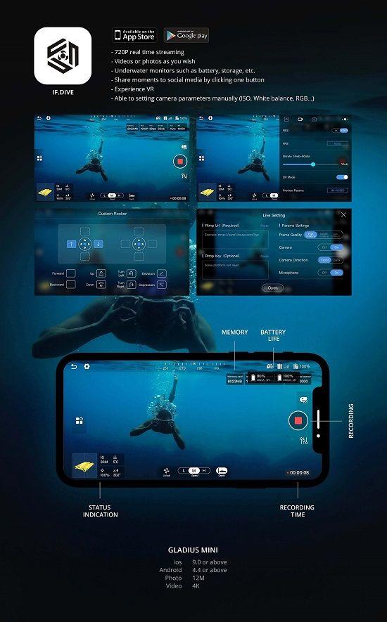 drone FPV Submarino 4k Gladius en la app