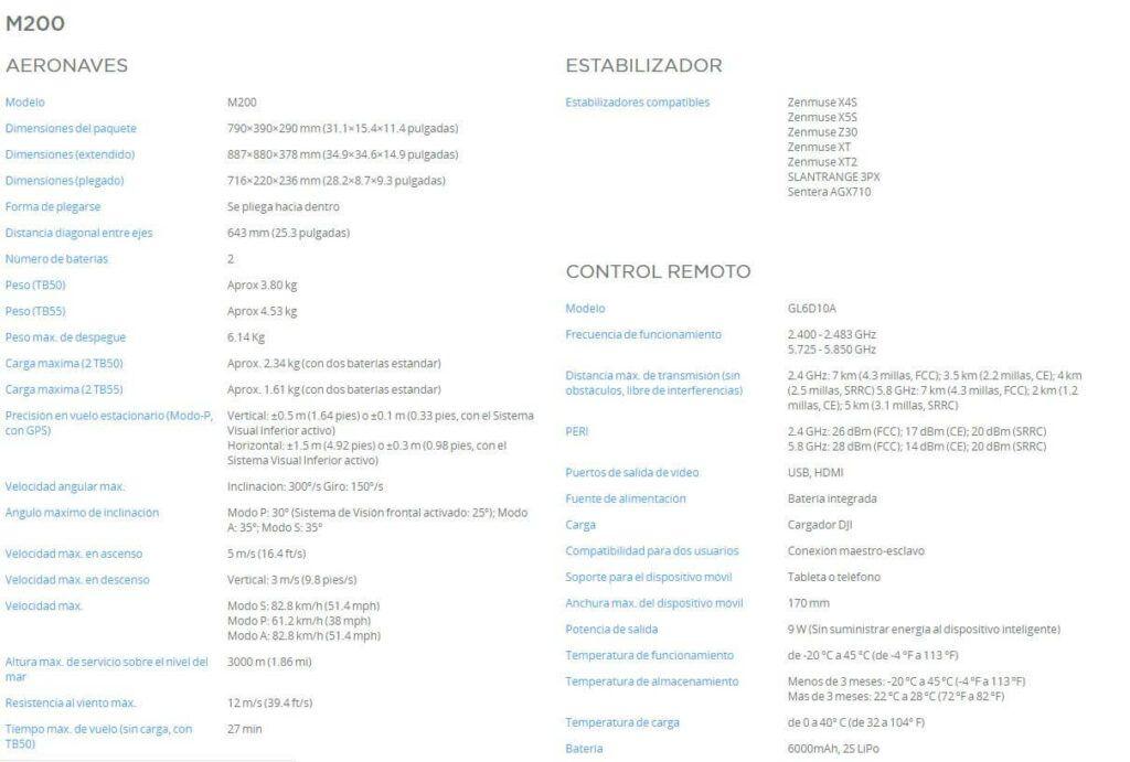 Caracteristicas DJI Matrice 200