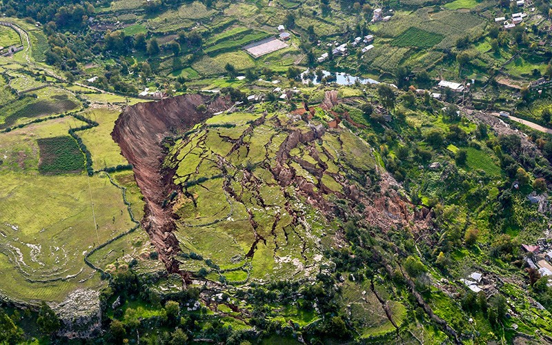 Imagen aéres a de desplazamiento de tierra en Perú en 2018