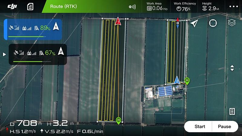DJI MG App inteligente de misiones para agricultura.