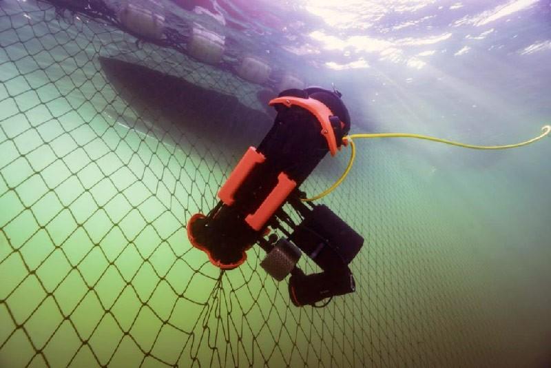Chasing M2 PRO inspeccionando red de pesca bajo el agua.
